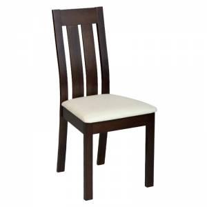 Καρέκλα Οξυά Σκούρο Καρυδί / PVC Εκρού