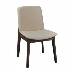 Καρέκλα Τραπεζαρίας Οξυά Καρυδί  - Ύφασμα Μπεζ
