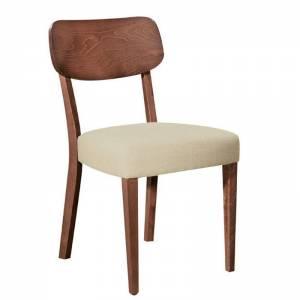 Καρέκλα Οξυά Καρυδί / Ύφασμα Μπεζ