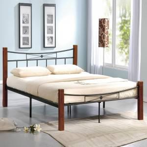 Κρεβάτι Διπλό Μέταλλο Βαφή Μαύρο - Ξύλο Καρυδί