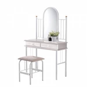 SET Τουαλέτα με Καθρέπτη + Σκαμπό 2 Συρτάρια - Μέταλλο Βαφή Άσπρο - Ξύλο Άσπρο