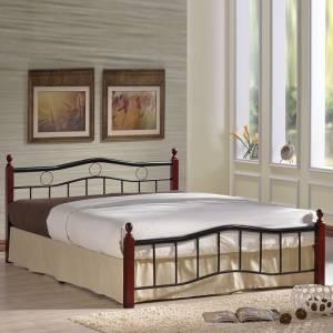 Κρεβάτι (για στρώμα 150x200cm) Mεταλ.Μαύρο/Ξύλο Καρυδί