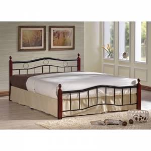 Κρεβάτι (για στρώμα 140x190cm) Mεταλ.Μαύρο/Ξύλο Καρυδί