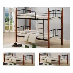 Κρεβάτι/Κουκέτα 90x200cm Mεταλ.Μαύρο/Ξύλο Καρυδί