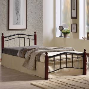 Κρεβάτι Ημίδιπλο (για στρώμα 110x200cm) Mέταλ.Μαύρο/Ξύλο Καρυδί