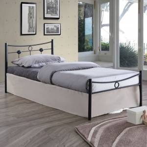 Κρεβάτι Μονό Μέταλλο Βαφή Σφυρήλατο Μαύρο