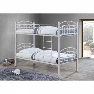 Κρεβάτι/Κουκέτα 90x190cm Μεταλ.Άσπρο/Ξύλο Άσπρη