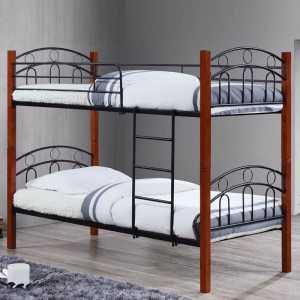 Κρεβάτι/Κουκέτα 90x190cm Mεταλ.Μαύρο/Ξύλο Καρυδί