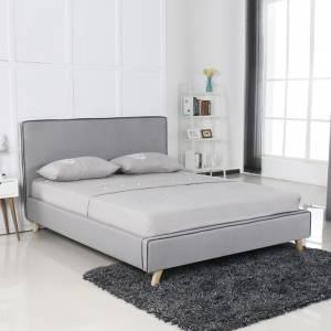 Κρεβάτι (για στρώμα 160x200cm) Ύφασμα Αν.Γκρι