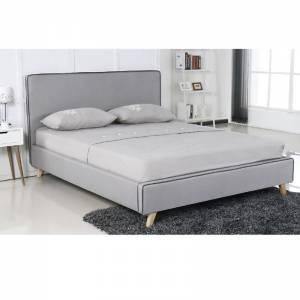 Κρεβάτι (για στρώμα 140x190cm) Ύφασμα Αν.Γκρι