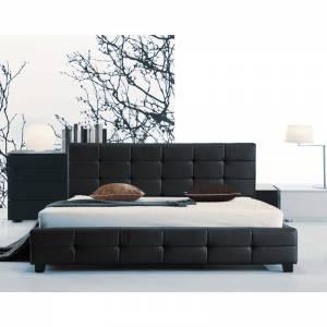 Κρεβάτι Διπλό Ξύλο - PU Μαύρο