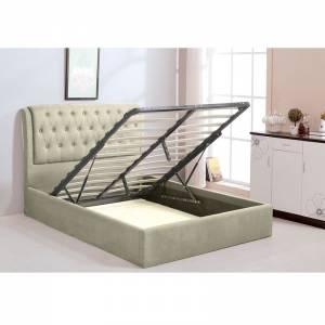 Κρεβάτι Αποθηκευτικός Χώρος - Ξύλο / Ύφασμα Εκρού