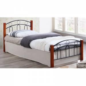 Κρεβάτι Διπλό Μέταλλο Βαφή Μαύρο / Ξύλο Καρυδί