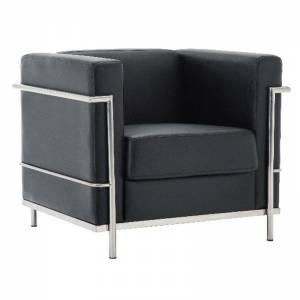 Πολυθρόνα Σαλονιού Καθιστικού Inox - Pu Μαύρο