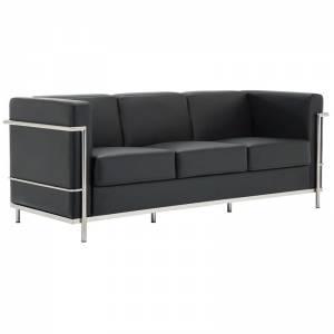 Καναπές 3-θέσιος Inox/Pu Μαύρο