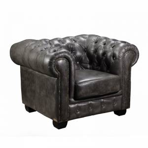 CHESTERFIELD Πολυθρόνα Δέρμα Antique Grey 103x92x72cm