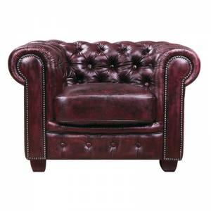 CHESTERFIELD Πολυθρόνα Δέρμα Antique Red 103x92x72cm
