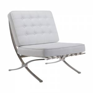 Καρέκλα Σαλονιού Καθιστικού Inox - PU Άσπρο