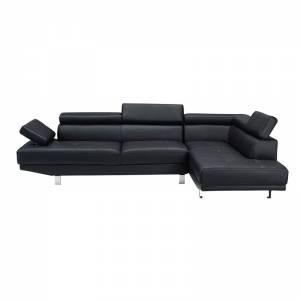 Καναπές Σαλονιού Αριστερή Γωνία - Ανακλινόμενα Κεφαλάρια - Pu Μαύρο