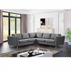 Καναπές Σαλονιού Καθιστικού Γωνία - Ύφασμα Γκρι