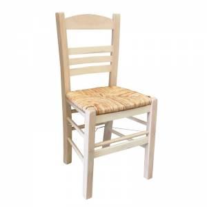 Καρέκλα Άβαφη με Ψάθα Αβίδωτη
