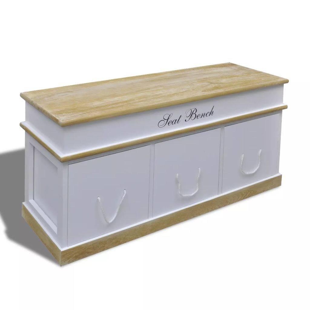 Ξύλινος Πάγκος Παπουτσοθήκη Εισόδου 3 Συρτάρια Λευκή