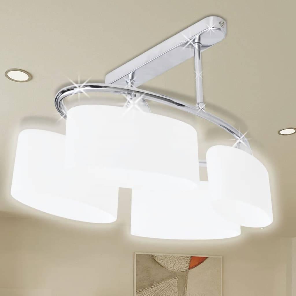 Φωτιστικό Οροφής με Λευκό Ελλειψοειδές Κρύσταλλο 4φωτο Ε14