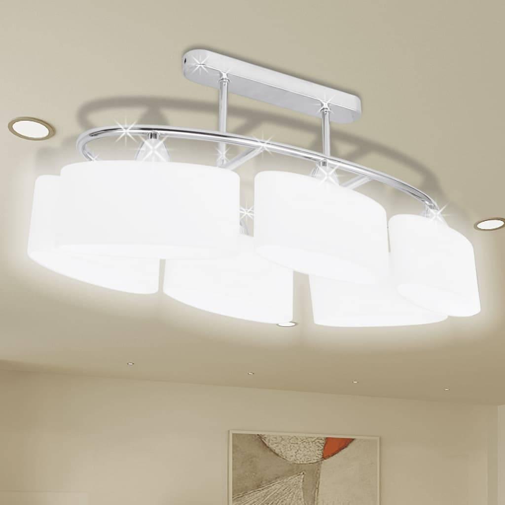 Φωτιστικό Οροφής με Λευκό Ελλειψοειδές Κρύσταλλο 6φωτο Ε14