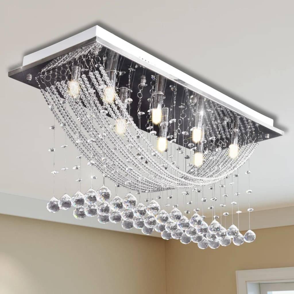Φωτιστικό Οροφής με Αστραφτερές Κρυστάλλινες Χάντρες Λευκό 29 εκ.