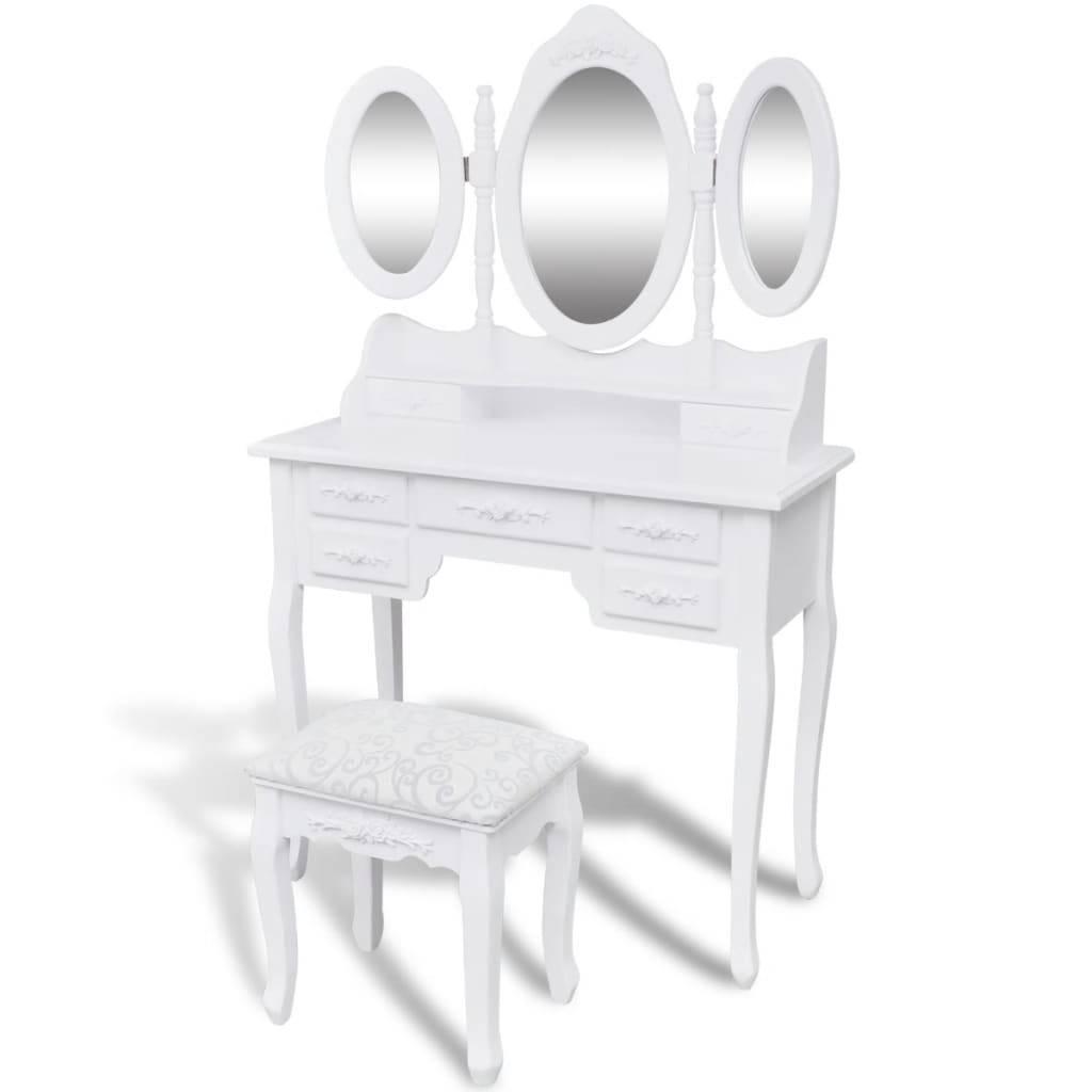 Μπουντουάρ με 3 Καθρέφτες και Σκαμπό Λευκό