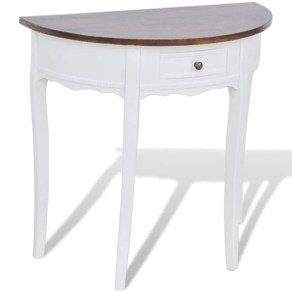 Κονσόλα Τραπέζι με Συρτάρι Ημικυκλική με Καφέ Επιφάνεια