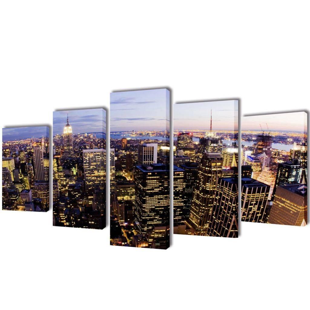 Πίνακας σε Καμβά Σετ Θέα από Ψηλά Ορίζοντας Νέα Υόρκης 200 x 100 εκ.