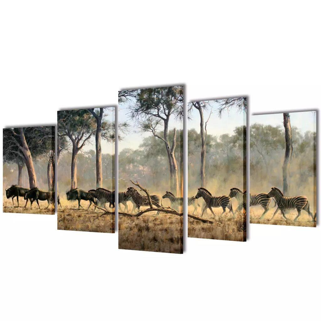 Πίνακας σε Καμβά Σετ Ζέβρες 100 x 50 εκ.