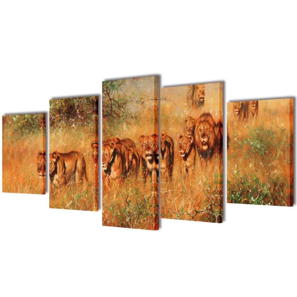 Πίνακας σε Καμβά Σετ Λιοντάρια 200 x 100 εκ.