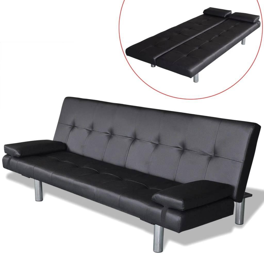 Καναπές-Κρεβάτι 2 Μαξιλάρια Ρυθμιζόμενος Μαύρος Συνθετικό Δέρμα
