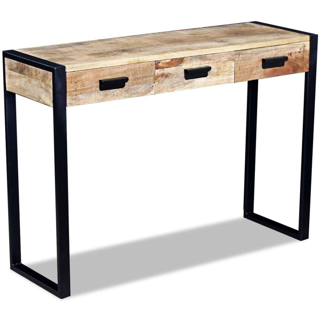 Κονσόλα Τραπέζι με 3 Συρτάρια 110x35x78 εκ. Μασίφ Ξύλο Μάνγκο