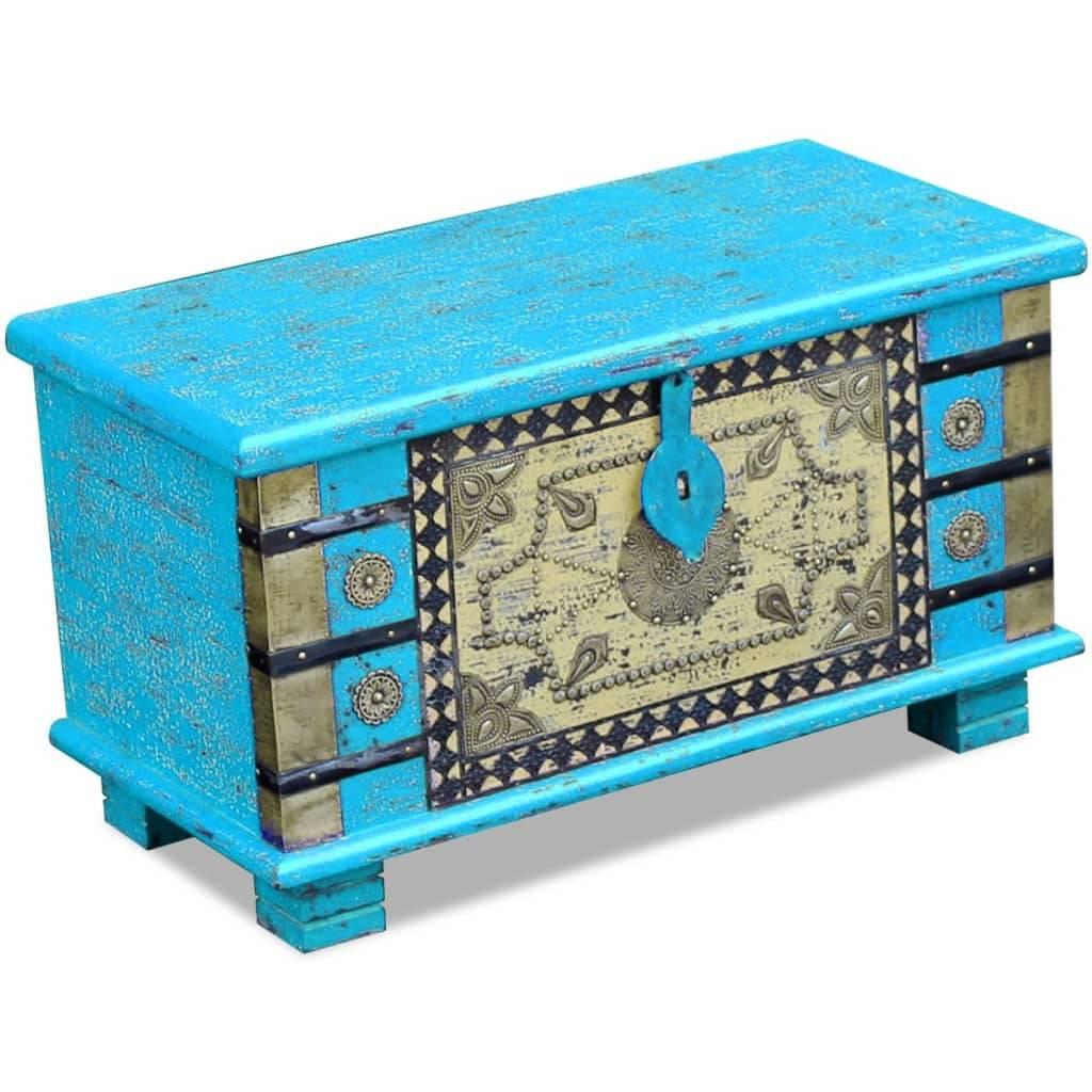 Μπαούλο Αποθήκευσης Μπλε 80 x 40 x 45 εκ. από Ξύλο Μάνγκο