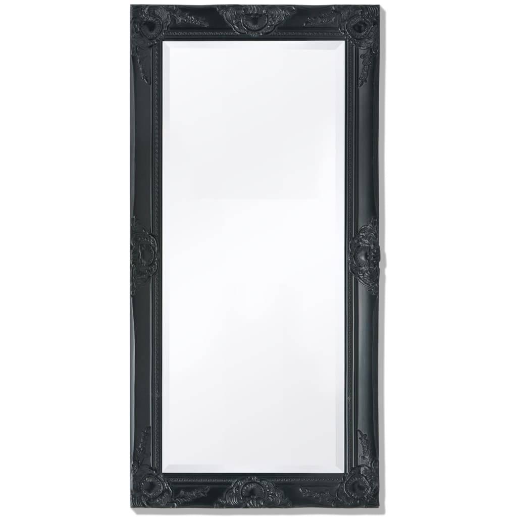 Καθρέφτης Επιτοίχιος με Μπαρόκ Στιλ Μαύρος 100 x 50 εκ.