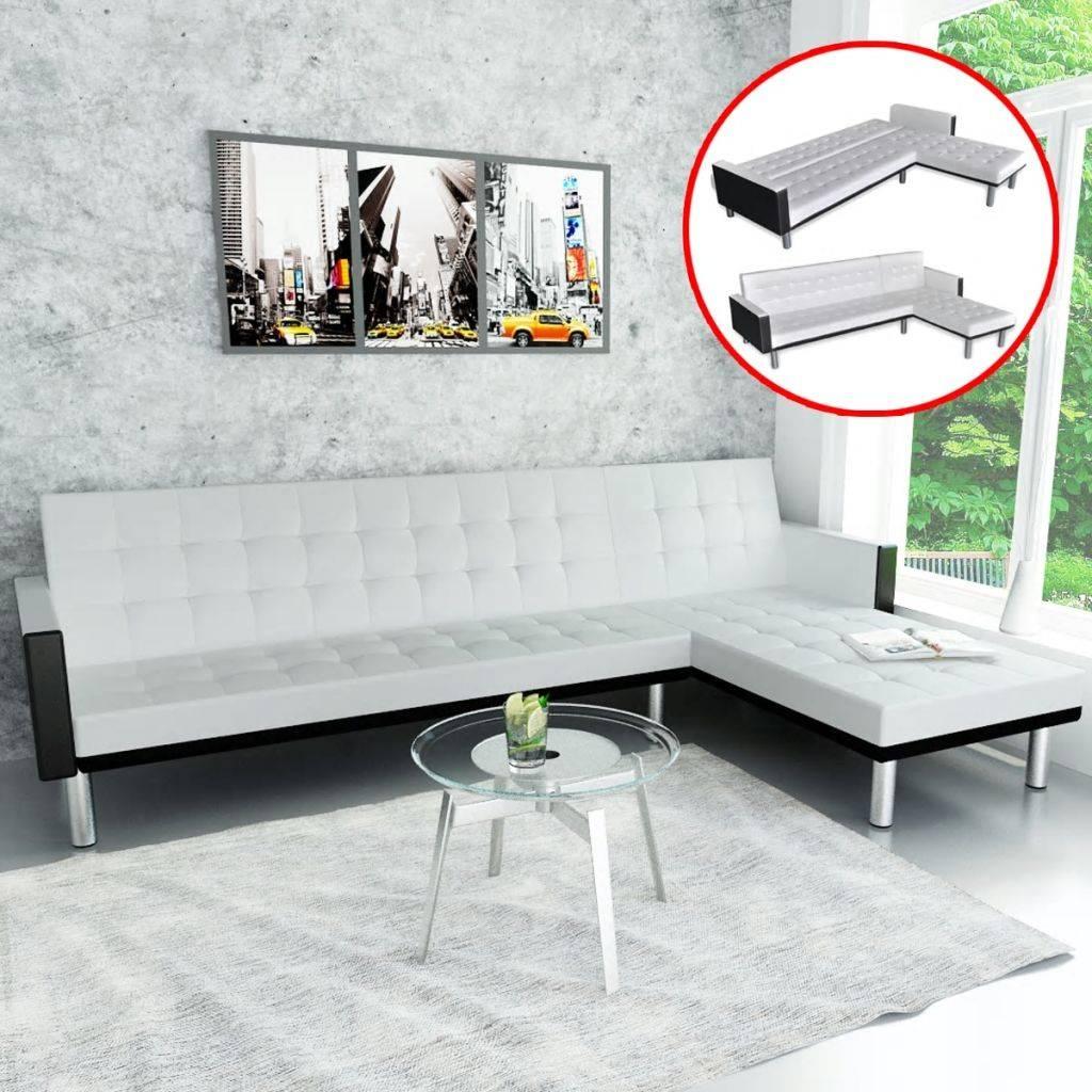 Καναπές-Κρεβάτι Γωνιακός Λευκός από Συνθετικό Δέρμα