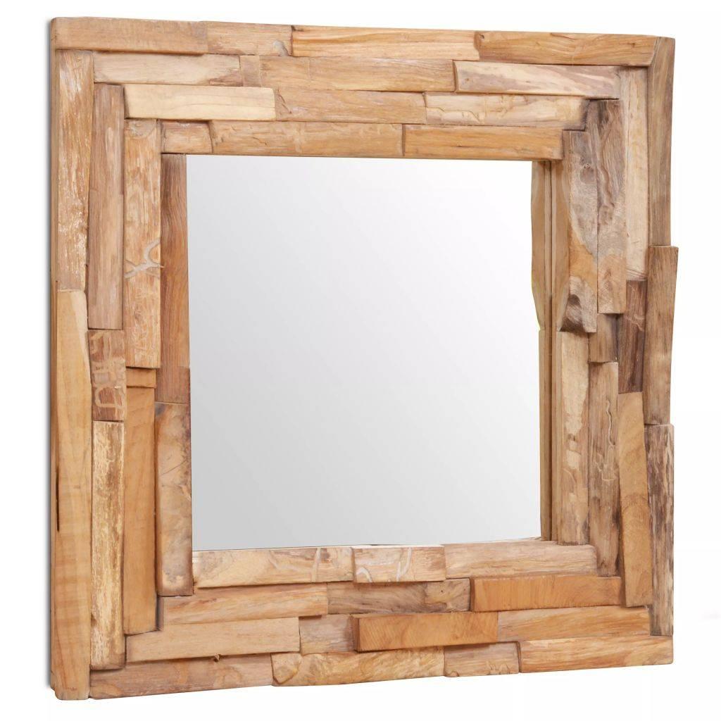 Καθρέφτης Διακοσμητικός Τετράγωνος 60 x 60 εκ. από Ξύλο Teak