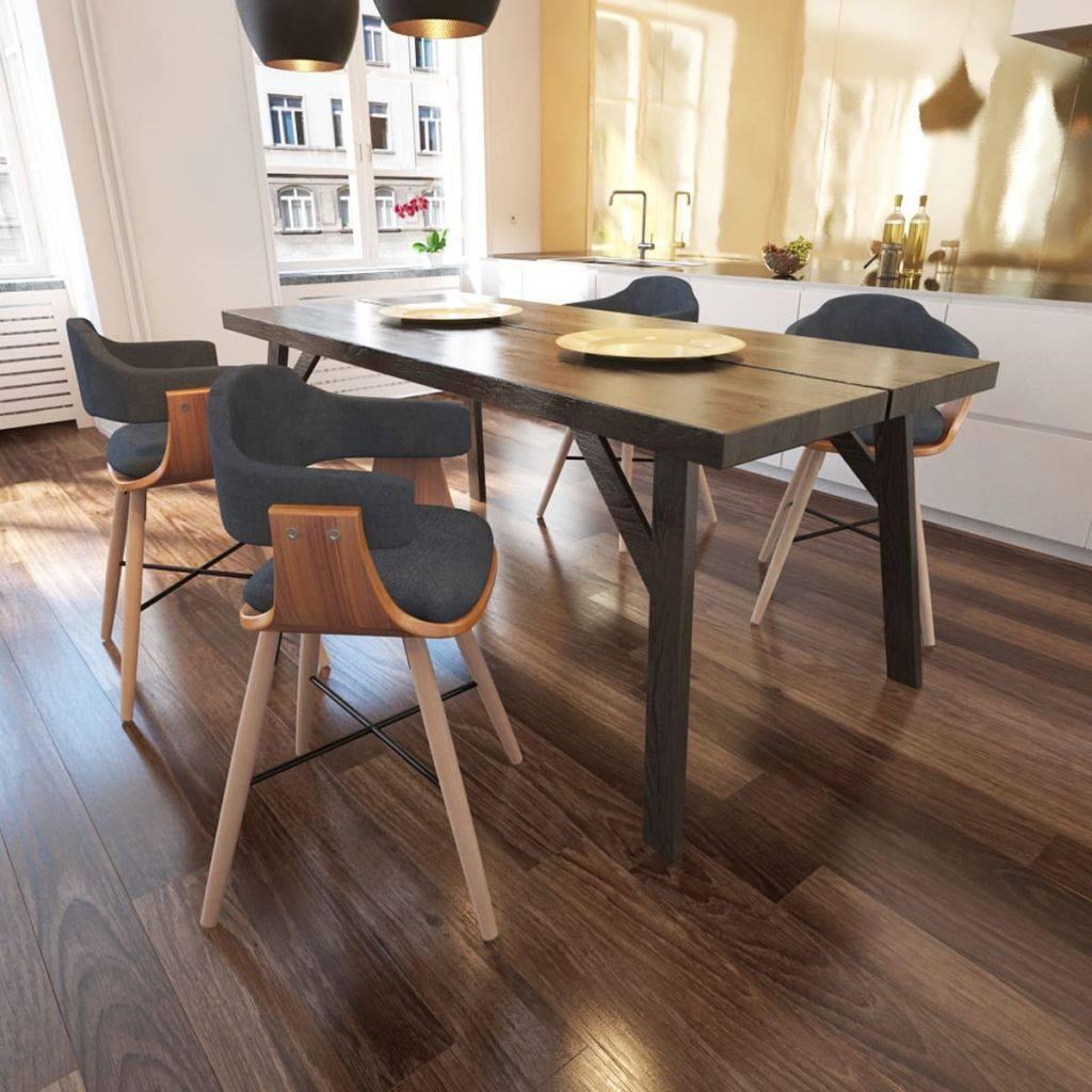 Καρέκλα Τραπεζαρίας 4 τεμ. από Λυγισμένο Ξύλο με Υφασμάτινη Ταπετσαρία