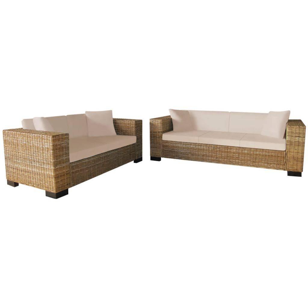 Καναπές Διθέσιος και Τριθέσιος Σετ από Γνήσιο Ρατάν