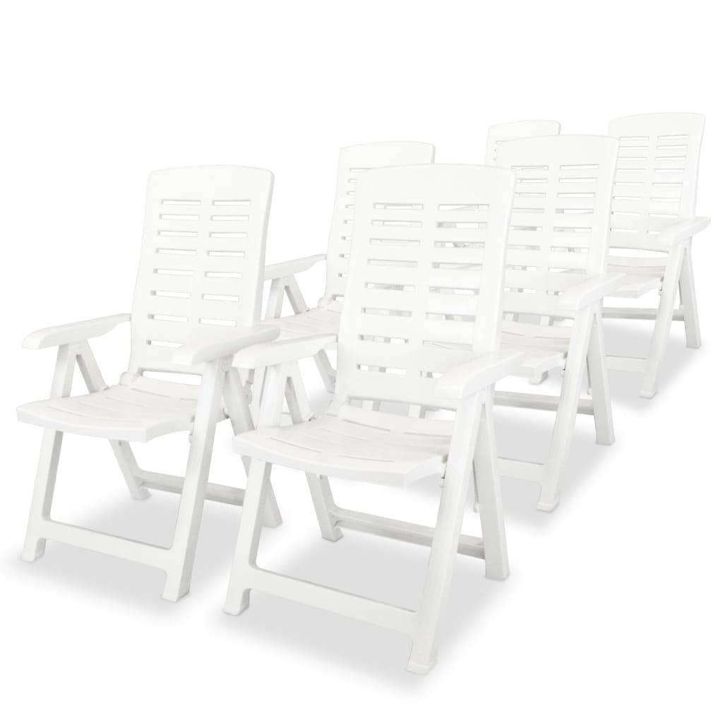 Καρέκλες Κήπου Ανάκλιση 6 τεμ. Λευκές 60x61x108 εκ. Πλαστικές