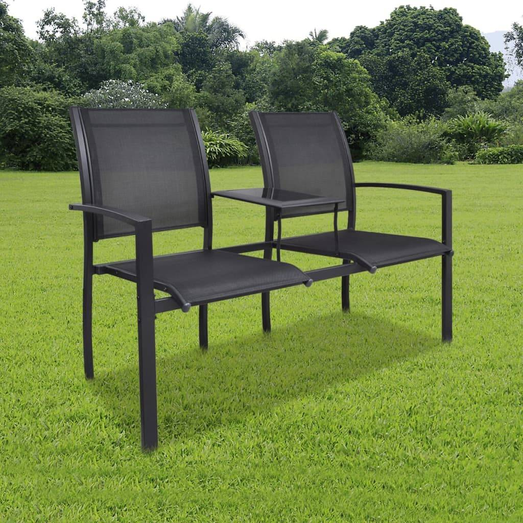 Κάθισμα Διθέσιο με Τραπέζι Μαύρο Textilene / Ατσάλινο