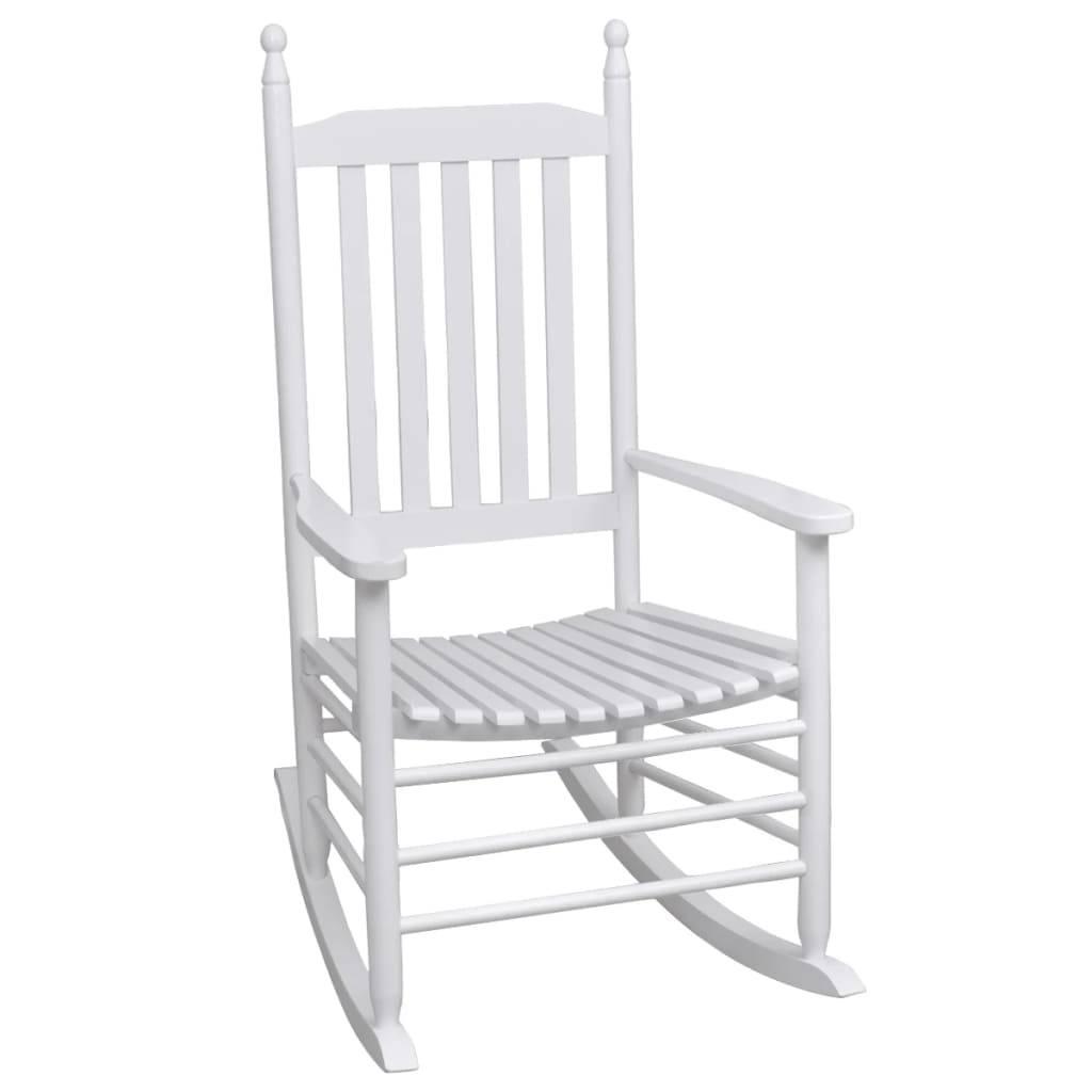 Πολυθρόνα Κουνιστή με Καμπυλωτό Κάθισμα Λευκή Ξύλινη
