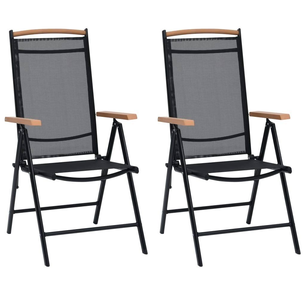 Καρέκλες Κήπου Πτυσσόμενες 2 τεμ Μαύρες 58x65x109 εκ Αλουμινίου