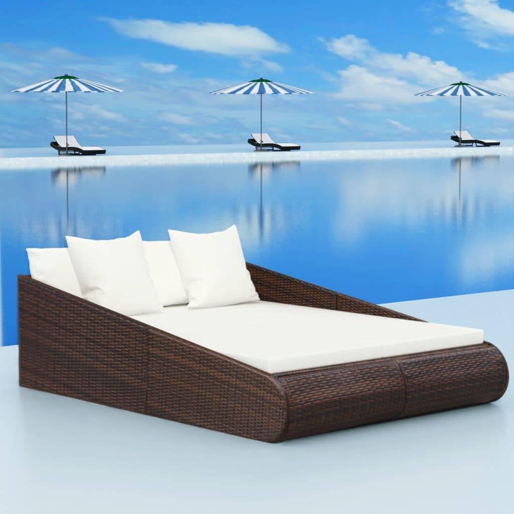 Κρεβάτι Daybed Καφέ 201 x 139 x 58 εκ. από Συνθετικό Ρατάν