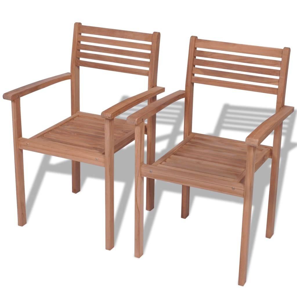 Καρέκλες Εξωτερικού Χώρου Στοιβαζόμενες 2 τεμ. Ξύλο Teak