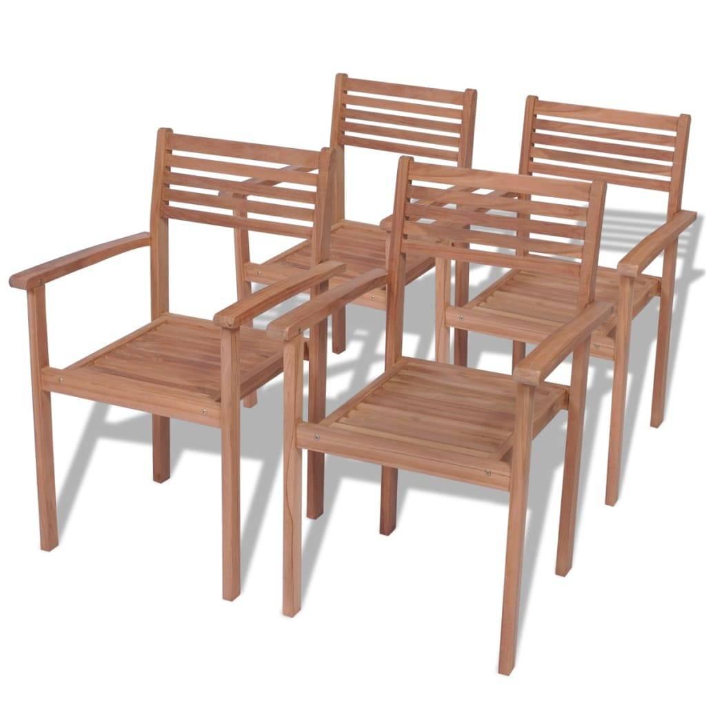 Καρέκλες Εξωτερικού Χώρου Στοιβαζόμενες 4 τεμ. από Ξύλο Teak