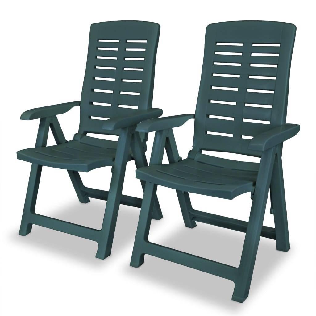 Καρέκλες Κήπου Ανάκλιση 2 τεμ. Πράσινες 60x61x108 εκ. Πλαστικές